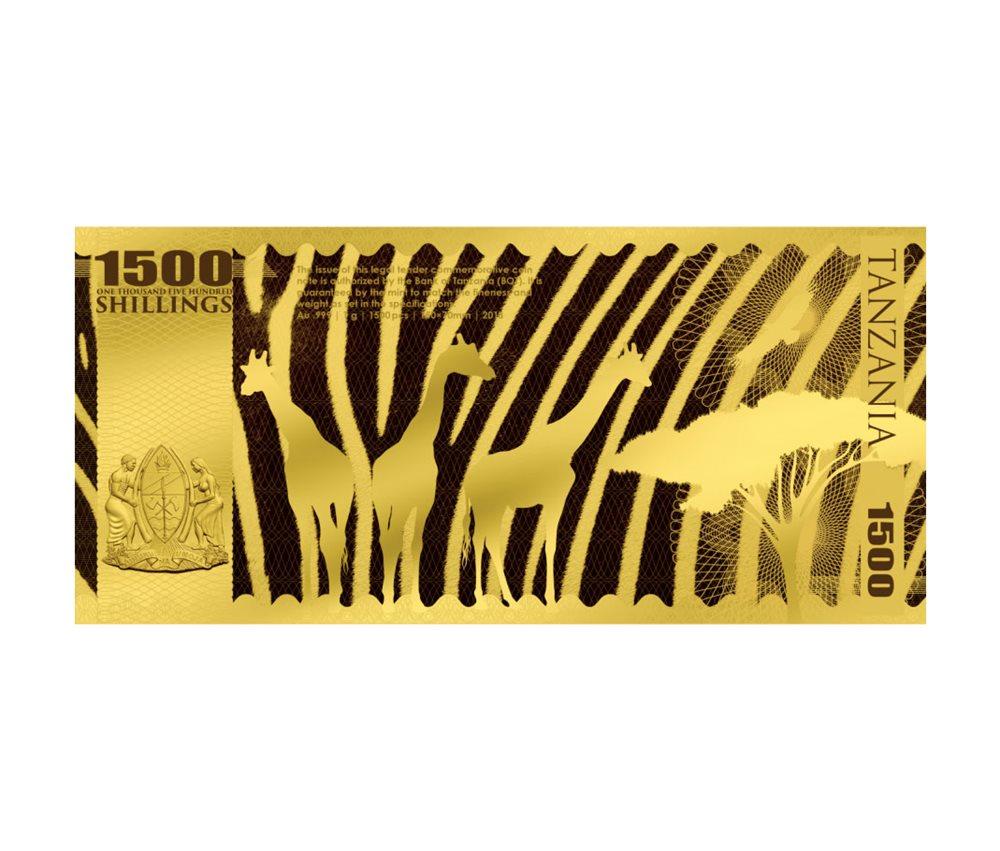 2018 Tanzania Big 5 Leopard Foil Note Gold Sh1,500 Coin GEM Prooflike SKU51823