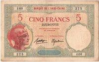5 Francs 1936 Französisch-somaliland Banknote