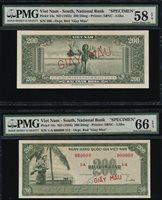 SOUTH VIET NAM National Bank SPECIMEN 200Dong ND(1955) 2pcs PMG UNC66&AU58 EPQ