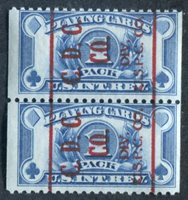 C.D.C.Co./DIV. U.S.P.C.Co., (Consolidated Dougherty Card Co.) Scott and PSS RF27 (PC163) 1949 1 Pack blue, wet printing red precancel reads up, coil pair, mint, F