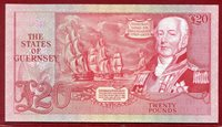 20 Pfund Pounds Banknote 1980 89 Guernsey Gibraltar Bay Admiral Lord De Saumarez Seeschlacht sehr niedrige Seriennummer