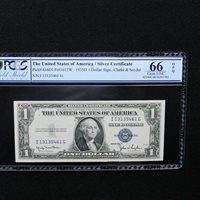 $1 Wide 1935 D Silver Cert , PCGS 66 OPQ Gem Unc., Fr # 1613 W, (IG Block)
