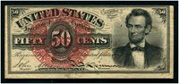 F1374 50c Lincoln. Extremely Fine. Centered high.