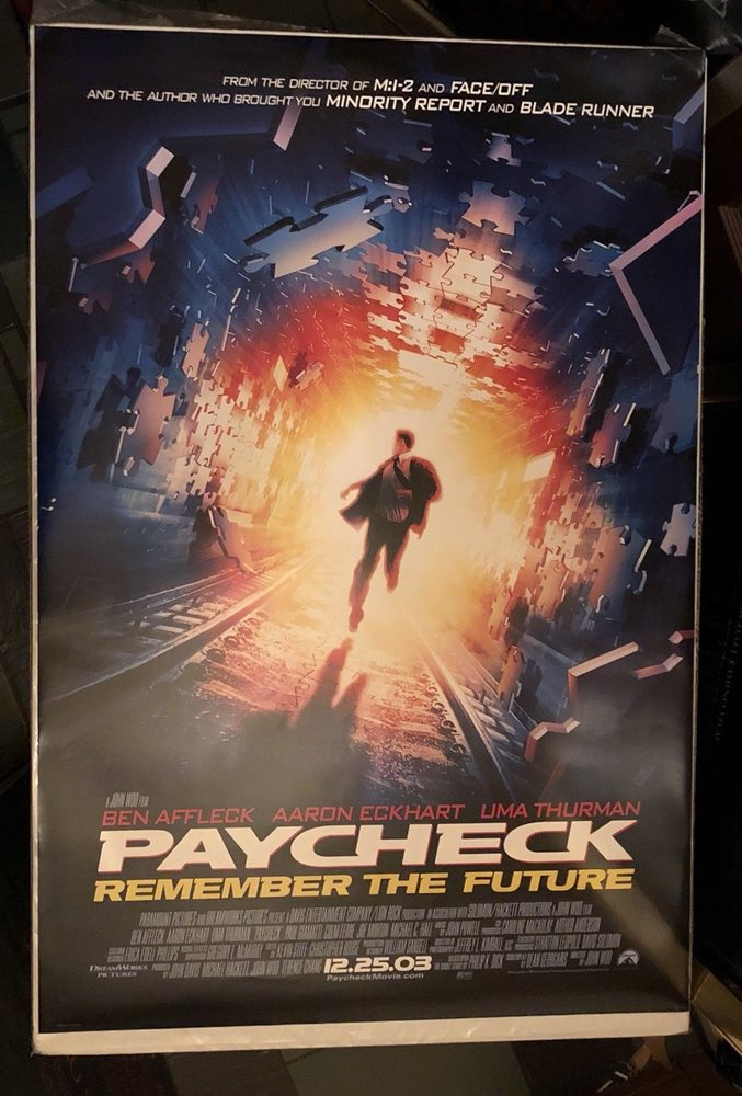 PAYCHECK (2003) John Woo, Ben Affleck, Uma Thurman DS One Sheet