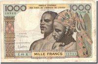 1000 Francs Undated (1960) West African States Banknote, Km:703kg