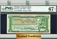 1 Dollar 1966 Ethiopia Pmg 67 Epq Superb Gem Uncirculated Pop One