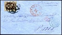 #161, F-VF, sound, tied by VF-XF strike of scarce NYFM geometric killer (Weiss GE-EN5) on VF, fresh, unreduced cover to France, VF red NEW YORK MAR 24 PAID exchange office date stamp, 1875 French receiving. This cover is not included in the Weiss census, which listed only 11 covers, including only one other 10¢ cover. One quarter of back flap missing, but an otherwise very clean and attractive cover.