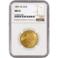 1891 CC CC/CC $10 Liberty Head Eagle Gold B-7035 FS-501 NGC MS61