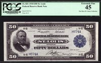 $50 1918 FRBN St. Louis Federal FR 831 PCGS 45 RARE - ONE FRIEDBERG # TYPE NOTE