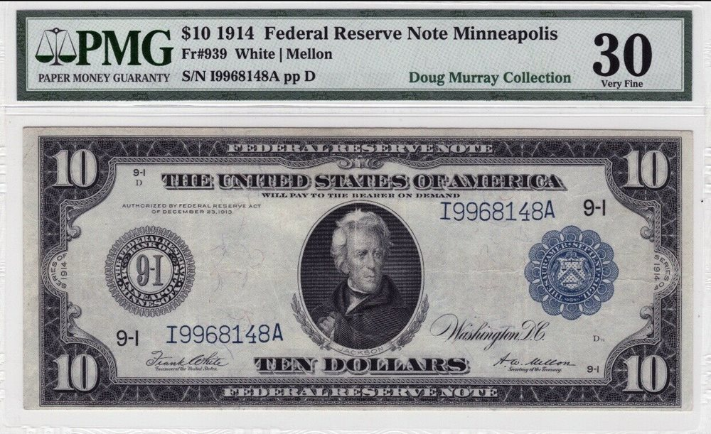 FR  939 1914 Blue Seal $10 Federal Reserve Note Minneapolis PMG Very Fine 30