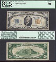 $10 1934=NORTH AFRICA=RARE MULE=SILVER CERT=Fr. 2308m=PCGS VERY FINE 20