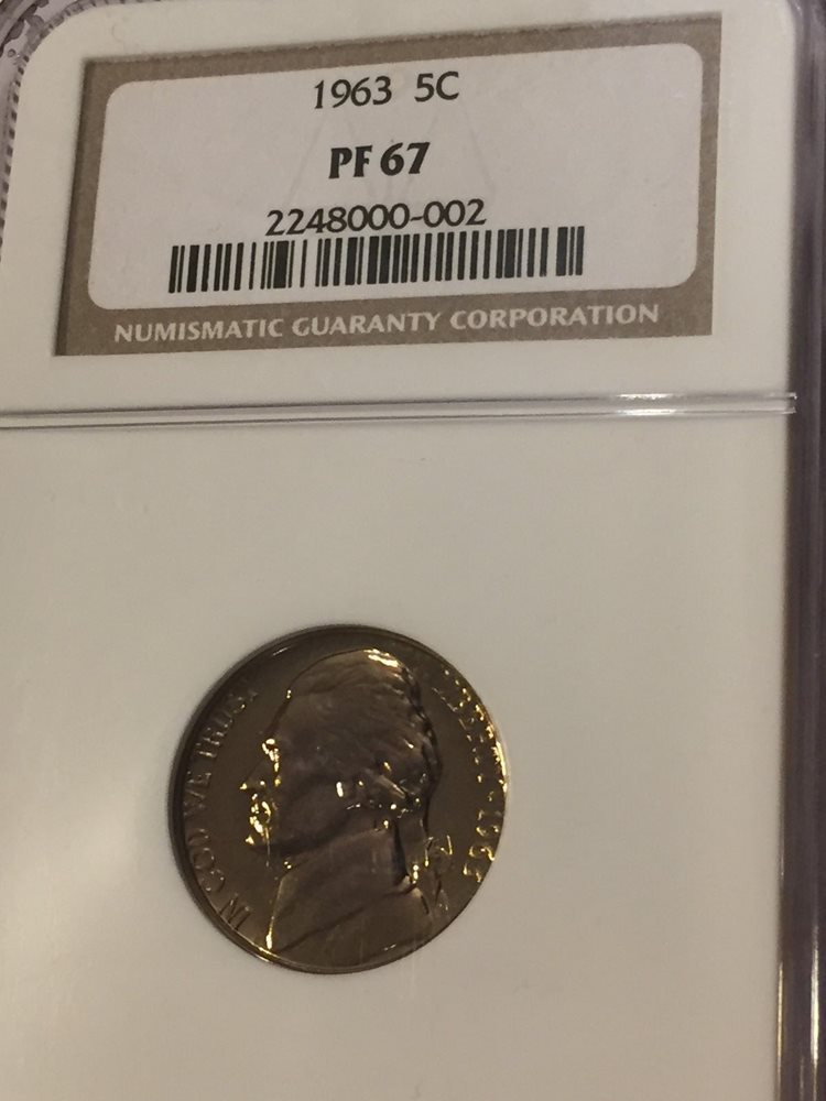 1963 Proof Jefferson Nickel certified PF 68 by NGC!