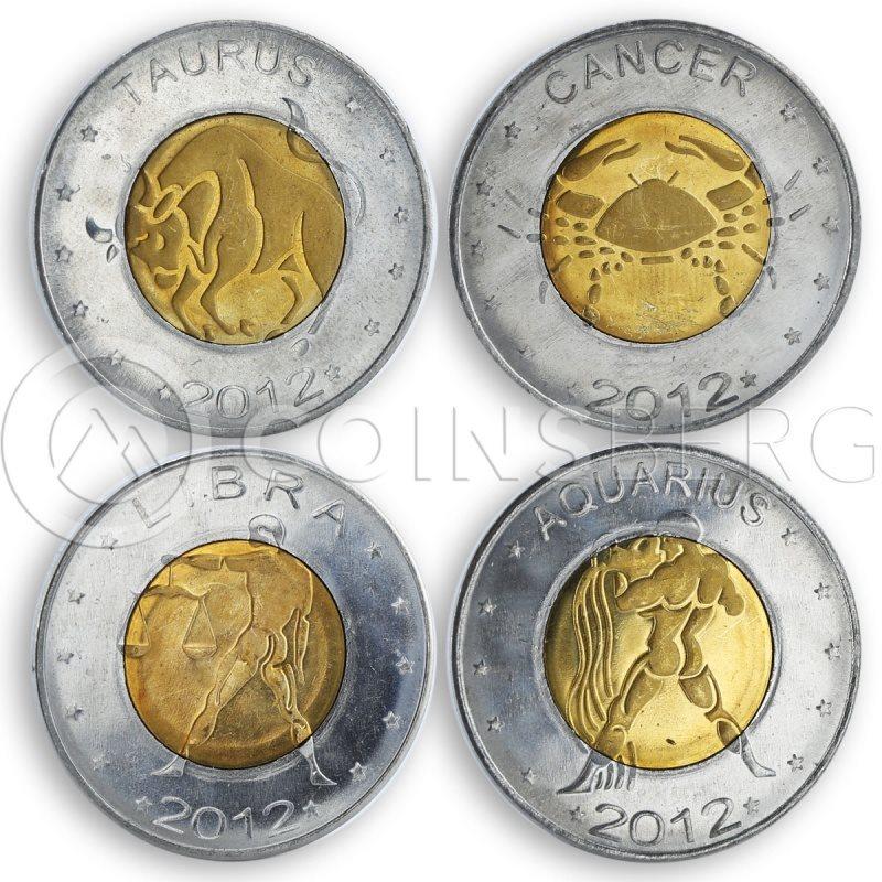 SOMALILAND 12 COINS SET 2012 ZODIACS UNC #581
