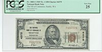 """1929 $50 NBN CHARTER #4375 """"THE NB of COMMERCE of SEATTLE WASHINGTON"""""""