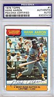 Hank Aaron Autographed Signed 1976 Topps Card #83037416 - PSA/DNA Certified - Baseball Slabbed Autographed Cards