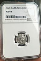 Medieval Hungary Silver Denar 1526 BA NGC MS62 Superb Very Rare