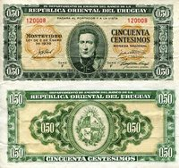 """Uruguay 50 Cents Pick #: 34 1939 VF (See large scan)Other Series may differ from scan Green Jose Artigas, Coat of ArmsNote 5"""" x 2 1/2"""" South America None Discernible"""