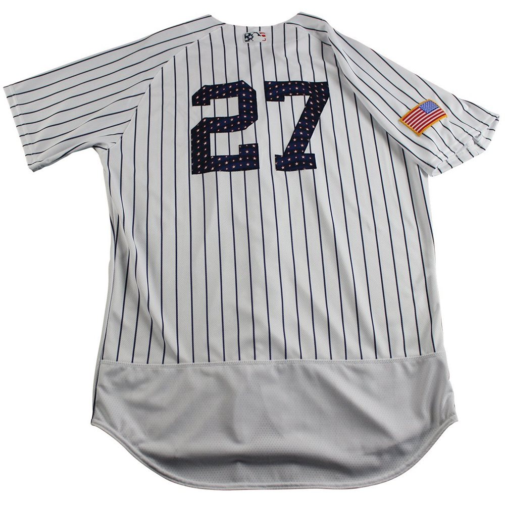 newest 268a5 31442 Austin Romine New York Yankees Game Issued #27 Fourth of July Pinstripe  Jersey (7/4/2017)(JC039011)(Size 46)
