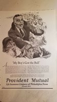 1925 Provident Mutual life insurance my boys got the ball vintage ad