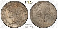 ***** PCGS ***** FRENCH GUADELOUPE 50 CENTIMES 1921 MS63 CHOICE UNC! CV $350