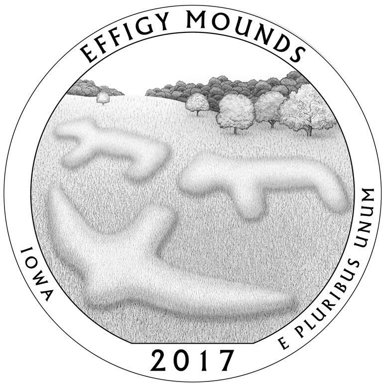 2017 P/&D EFFIGY MOUNDS NATIONAL MONUMENT IOWA TWO QUARTERS SET UNCIRCULATED