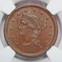 1853 Large Cent NGC MS-62 BN N-15 RPD