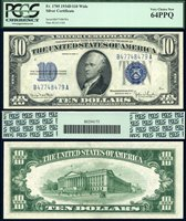 US Currency 1934C $10 Silver Certificate FR-1705