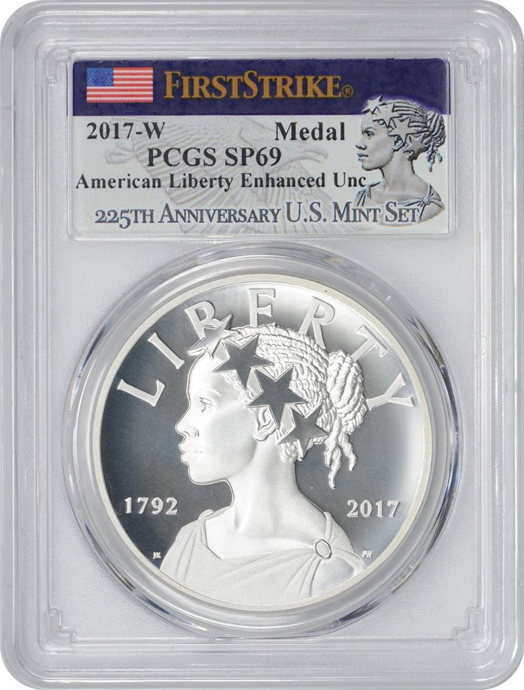 Toning 2017-D Liberty 225th Anniversary Silver Medal PCGS MS69 First Strike