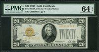 Fr No.2402 $20 Gold Certificate 1928 PMG 64EPQ