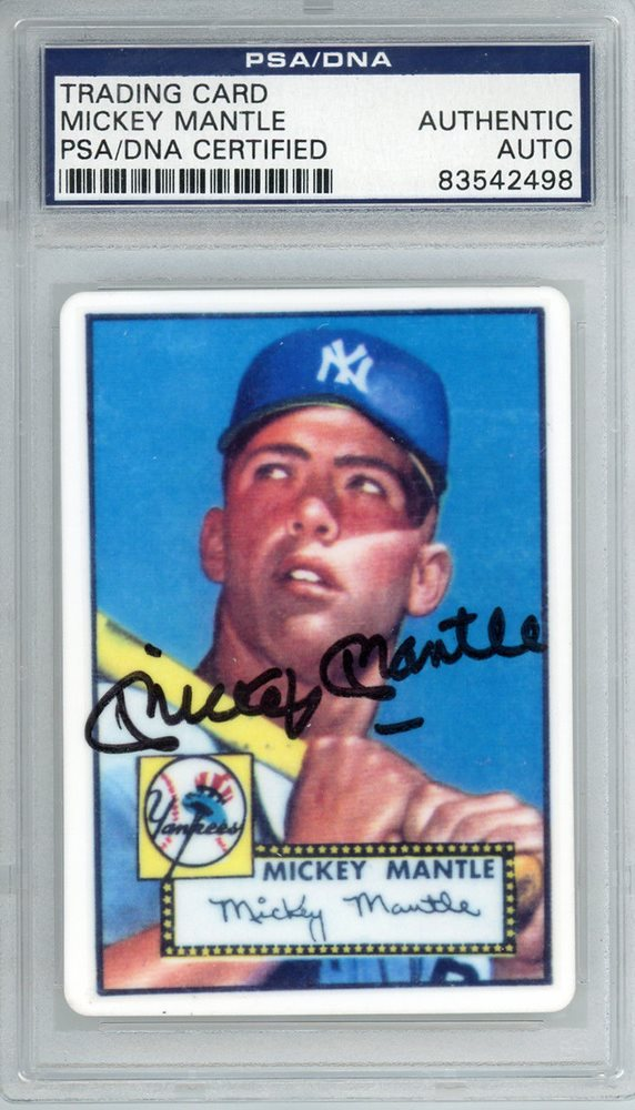 Mickey Mantle Autographed 1952 Topps Rookie Porcelain Card Psadna 83542498