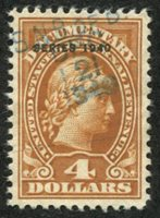 Scott R279 1940 $4 yellow brown (Liberty) used, VF
