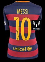LIONEL MESSI Signed 2015-16 FC Barcelona Home Shirt Jersey ICONS