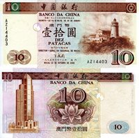 """Macao 10 Patacas Pick #: 90 1995 UNC Brown Farel de Guia Lighthouse; Bank of China (Macau) building; Lotus BlossomNote 5 3/4"""" x 2 3/4"""" Asia and the Middle East Lotus Blossom"""