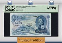 10 Rupees 1968 Seychelles Queen Elizabeth Ii Scum Note Pcgs 67 Ppq