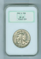 1942-D 50 Cent NGC MS 63 Early Holder