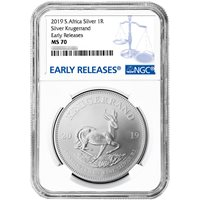 2019 South Africa Silver Krugerrand 1oz NGC MS70 FDOI First Label Retro Core