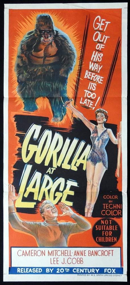 Cobb GORILLA AT LARGE Movie POSTER 27x40 Cameron Mitchell Anne Bancroft Lee J