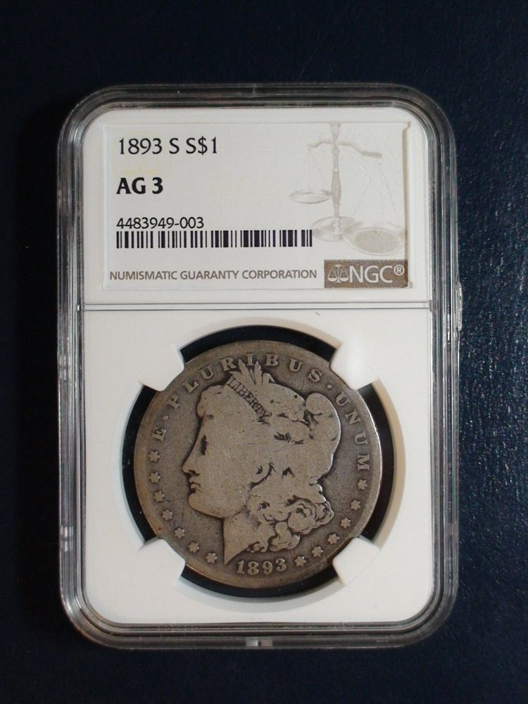 1893 S MORGAN SILVER DOLLAR NGC AG3 KEY DATE 1 Coin Auction Starts