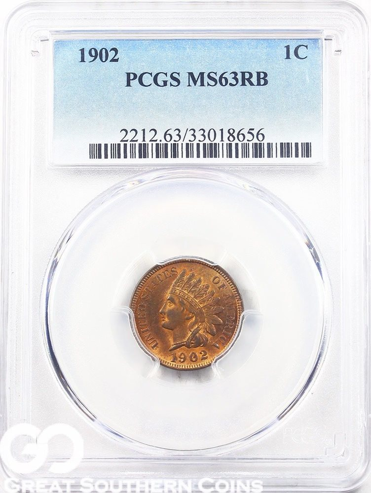 1902 Indian Cent MS63RB PCGS