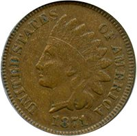 1871 P Indian Cents Cent VF20 PCGS BN