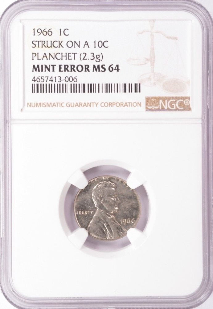 NGC 1c 1966 Lincoln Cent on Clad Dime Planchet MS64, PO1