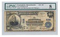 FR 624 $10 SERIES OF 1902 FRAMINGHAM NAT'L BANK OF MA PLAIN BACK CH# 528 PMG 8
