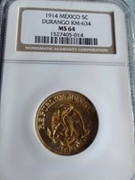 1914 MEXICO, 5 centavo, Revolution Coin DURANGO MS64