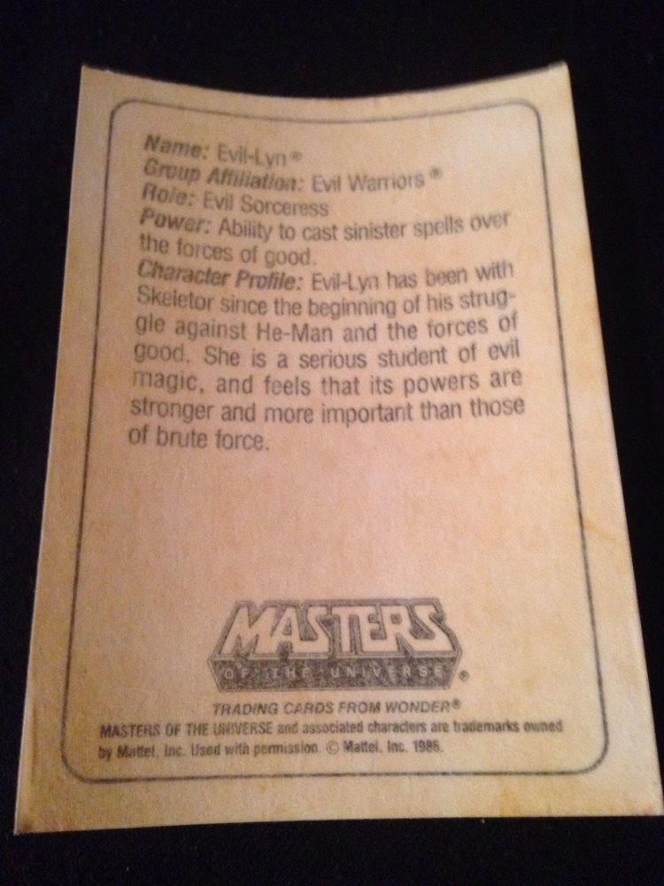 1985 Mattel Wonder Bread Masters Of The Universe Evil Lyn Card(Rare)