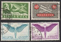 Lot id: 5561 - Switzerland Air Post Group C4, C9, C10, C12 UsedSwitzerland Air Mail Used Very Fine CV $71.50