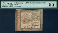 $45 Jan 14, 1779. CC-96. PMG About Uncirculated 55 with Leacock & Roberts signatures. Serial 107990.
