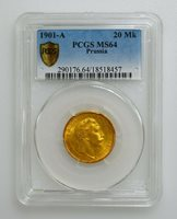 PCGS MS64 1901-A Germany Prussia 20 Mark Gold Coin K10013