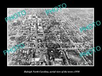 OLD LARGE HISTORIC PHOTO RALEIGH NORTH CAROLINA AERIAL VIEW OF TOWN c1950 1