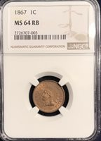 1867 Indian Head Cent MS 64 RB NGC