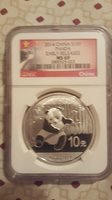2014-Silver Panda N.G.C-MS-69 10Y -Early Releases-Flag Label